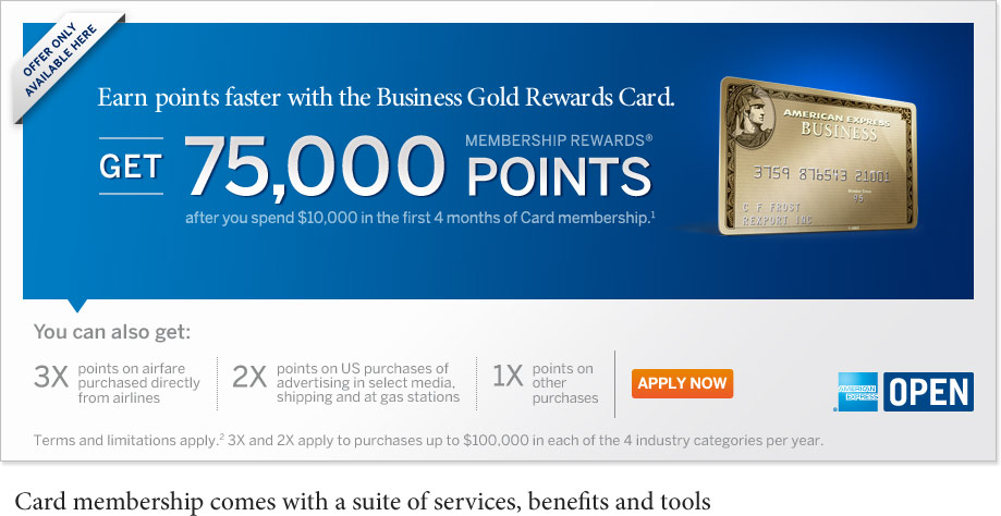Frequent flyer bonuses one day only 75000 membership rewards one day only 75000 membership rewards points for the business gold rewards card from american express open colourmoves
