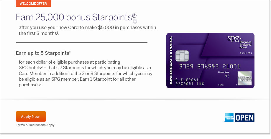 Earn up to 30,000 Starpoints®† Earn 10,000 Starpoints® after your First Purchase on the Card and earn an additional 20,000 Starpoints® after you make $5,000 in eligible purchases on the Card in the first 6 months of Cardmembership. Offer ends September 3, 2013.† Earn 1 Starpoint® for each dollar of eligible purchases¹ Earn up to 5 Starpoints® for each dollar of eligible purchases charged directly with hotels and resorts participating in the Starwood Preferred Guest® program - that's 2 Starpoints per dollar spent on the Card in addition to the Starpoints you get as an SPG member² $0 introductory annual fee for the first year, then $65³